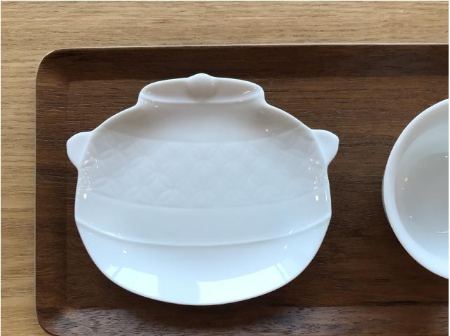【白磁 細工小皿 菓子皿 美濃焼 茶釜 】