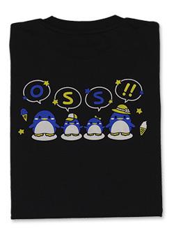 Tシャツ OSS!!仲良しペンギン (黒) 画像