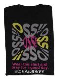 Tシャツ OSS!! タイポグラフィー 長袖 黒