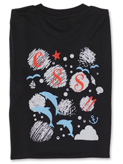 Tシャツ OSS!! 水玉とイルカ 黒