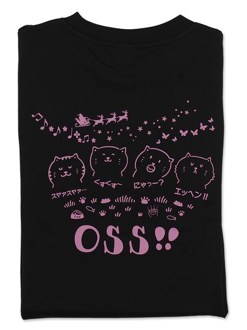 Tシャツ OSS!! ほっこりネコ 黒