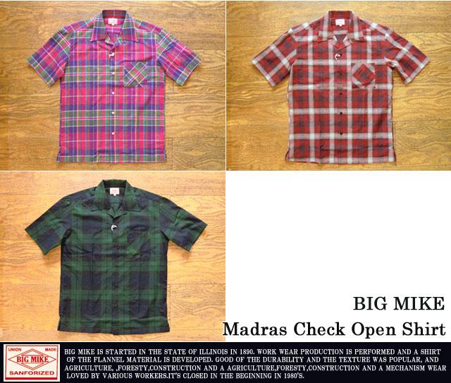 [BIG MIKE]ビッグマイク/マドラスチェックオープンカラーシャツ