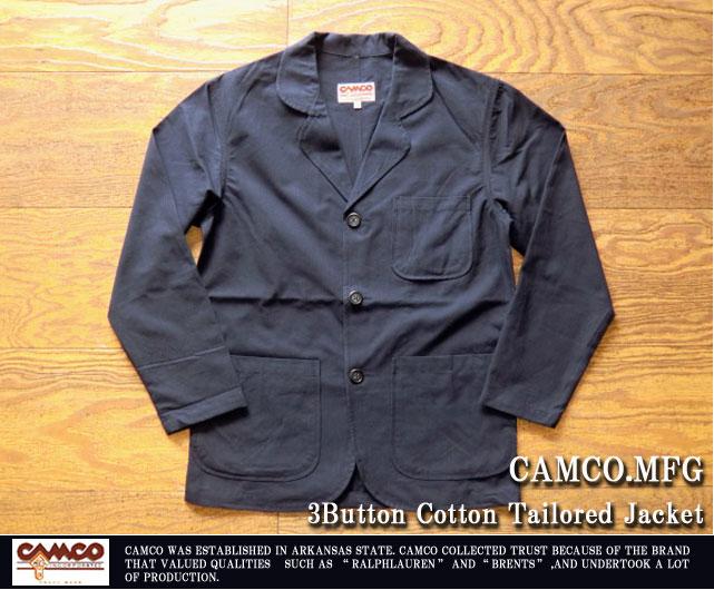 カムコ-3ボタンコットンテーラードジャケット
