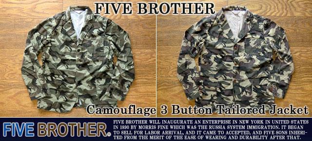 ファイブブラザー-カモフラージュ3ボタンテーラードジャケット