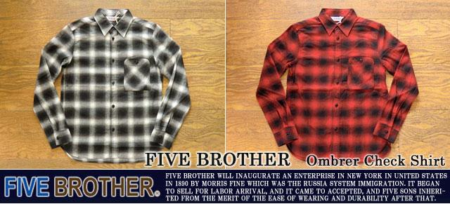 [FIVE BROTHER]ファイブブラザー-オンブレチェックシャツ