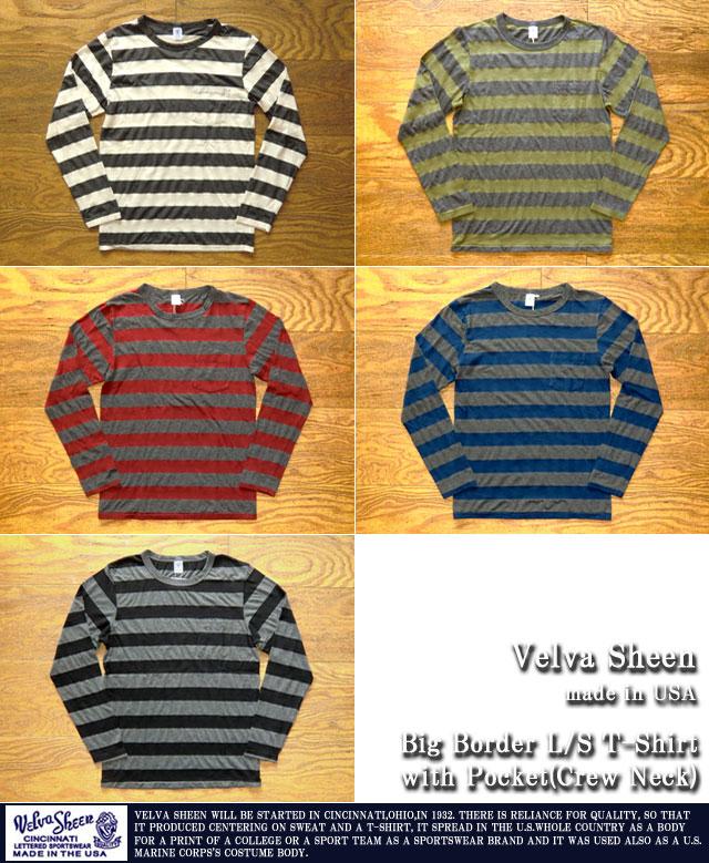 [Velva Sheen]ベルバシーン-ビッグボーダーL/STシャツ(クルーネック)