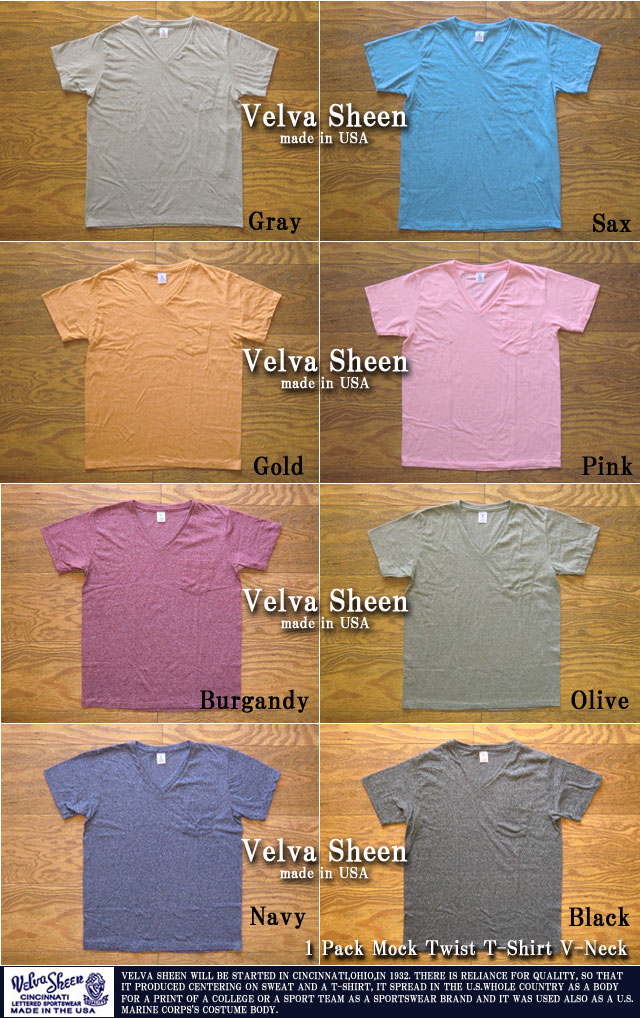 ベルバシーン-1pkモックツイストTシャツ(Vネック)