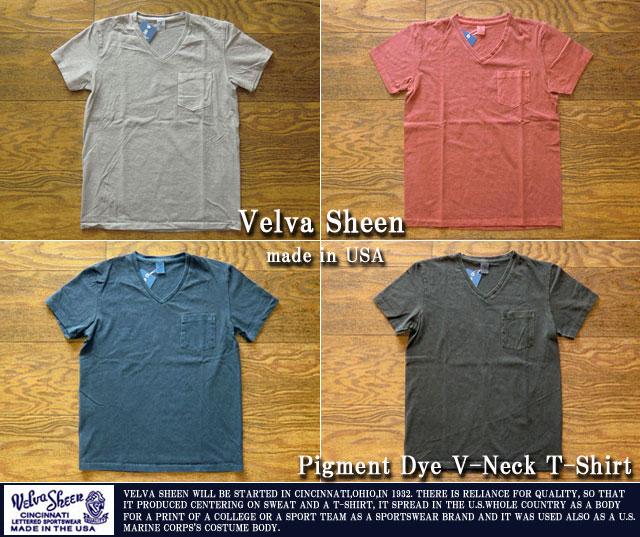 ベルバシーン-ピグメントダィVネックポケットTシャツ