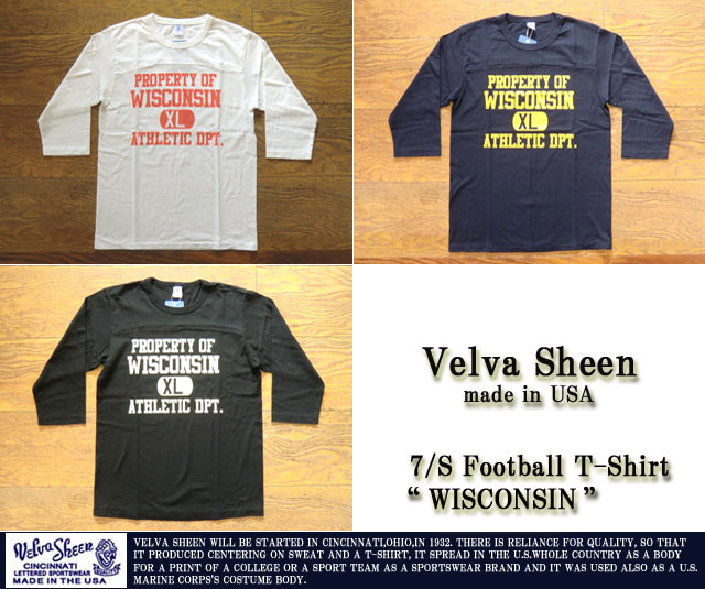 [VelvaSheen]ベルバシーン-7分袖プリントフットボールTシャツ