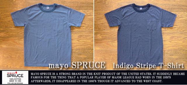 [mayoSPRUCE]メイヨースプルース-インディゴストライプTシャツ