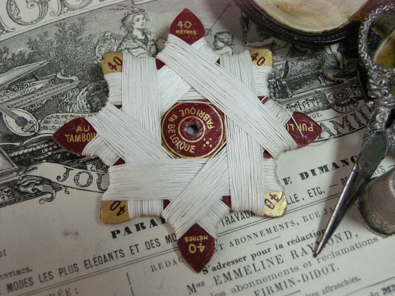 紙製台紙ホワイトLIN糸巻き 40