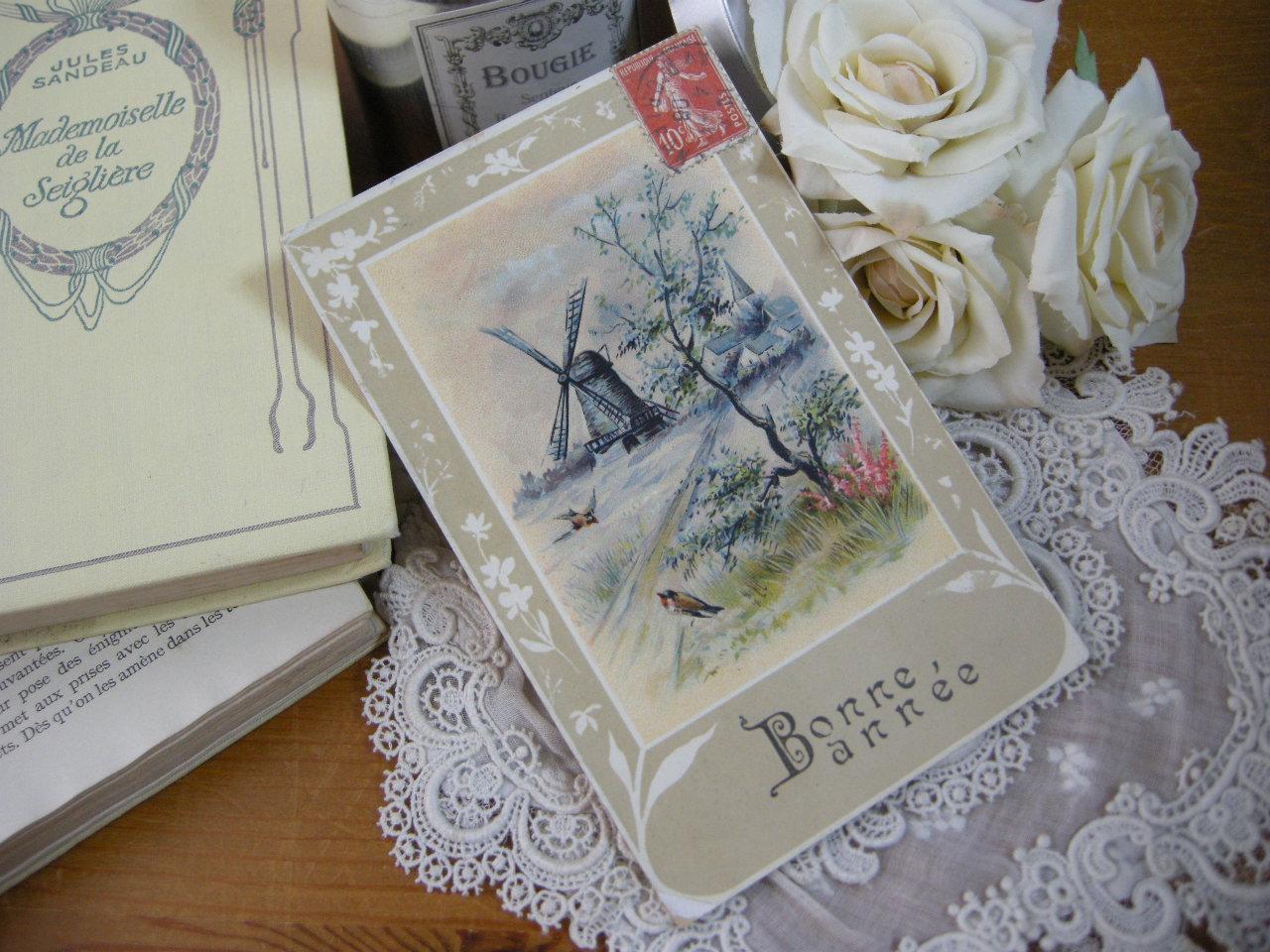 ポストカード(風車と小鳥)