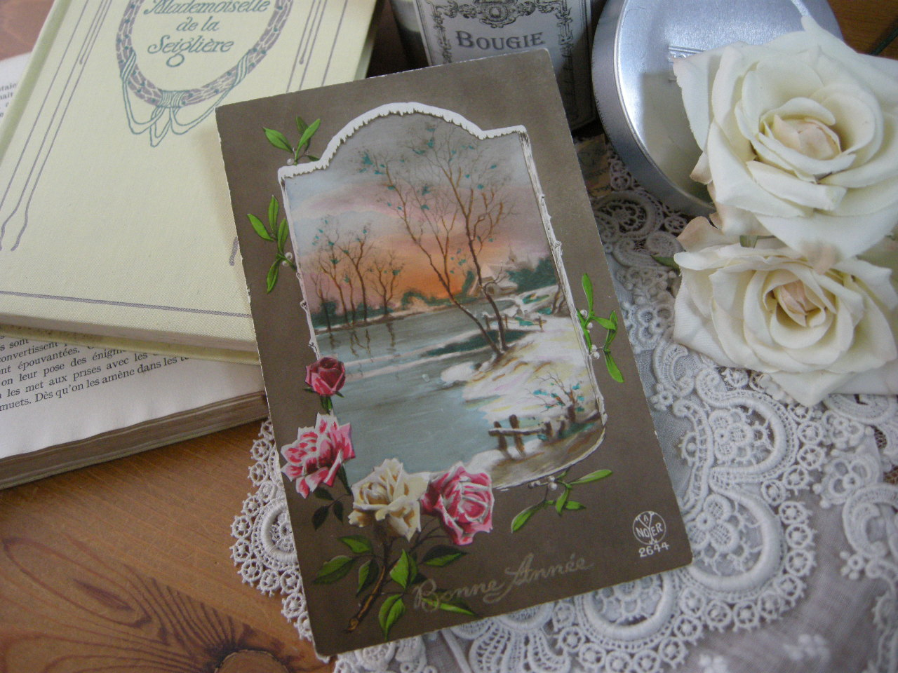 ポストカード(バラとヤドリギ)