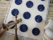 フランスアンティークプラスチックボタン(フラワーシェイプネイビーブルーL)