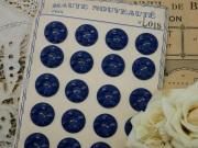 フランスアンティークプラスチックボタン(フラワーシェイプネイビーブルーM)