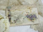 ポストカード(白鳩とスミレ)