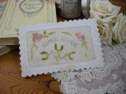 ヤドリギの刺繍入りポストカード