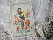 イースターポストカード(ネコとフィッシュ)