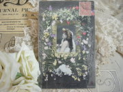 ポストカード(フラワーフレームと女性)