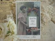ポストカード(ピンクドレスのマダム)