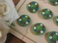 フランスアンティークガラスボタン(Fleur/vert)
