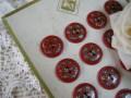 フランスアンティークハンドペイントガラリスボタン(Rouge)