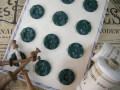 フランスアンティークプラスチックボタン(フラワーシェイプグリーンL)