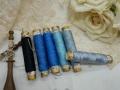 ミニシルク糸巻き6本セットブルーH