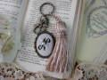 イニシャルクロスステッチとビーズ刺繍のタッセルキーホルダー(N)