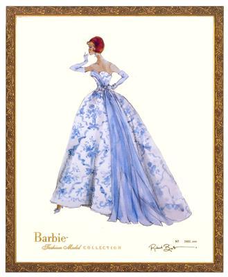 【バービー プリンセスアートフレーム】淡いブルーのドレス「プロヴァンス」プリント/ロバート・ベストデザイン 世界限定数量。ゴールドフレーム54X44