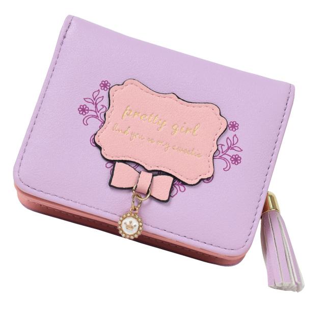 C-POSH 女の子 二つ折り財布 ファスナー小銭入れ スナップボタン付 コンパクト リボン チャーム ギフトボックス、ラッピング付き