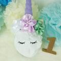 ユニコーン紫色の角と3色のバラの髪飾り カチューシャ お花パール付き ハーフバースデー、1歳のお誕生日会やバースデーパーティーなど☆赤ちゃん、キッズの記念撮影に☆贈り物