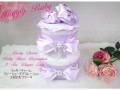 【出産祝い/ベビーシャワー/送料無料】2段おむつケーキ お祝いパネル、ベビーシューズ デコレーション付き♪4色、ハーフバースデー用プレゼントほか