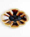 余宮隆 飴釉木の葉皿(L)