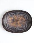 久野靖史 しのぎ楕円皿(黒・22cm)