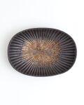 久野靖史 しのぎ楕円皿(黒・16cm)