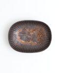 久野靖史 しのぎ楕円皿(黒・12cm)