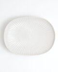久野靖史 しのぎ楕円皿(白・22cm)