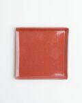 土井康治朗 紅赤4寸四角皿