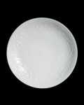 阿部春弥 白磁陽刻牡丹文7.5寸皿