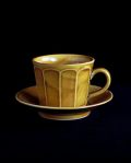 阿部春弥 黄磁面取りコーヒーカップ&ソーサー