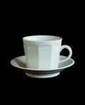 阿部春弥 白磁面取りコーヒーカップ&ソーサー