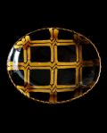 十場天伸 スリップウェア楕円皿(B)