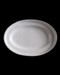 大江憲一 2段リムオーバル皿(白)