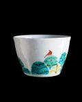 清水なお子 カフェオレカップ(木々に赤い鳥)