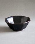 田村文宏 黒褐釉八角4寸鉢