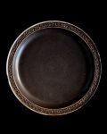 ヨシノヒトシ 黒褐釉7.5寸リム皿