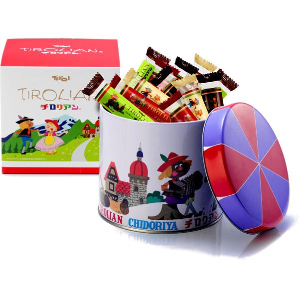 チロリアン丸缶(ショート28本入り) 千鳥屋の贈り物
