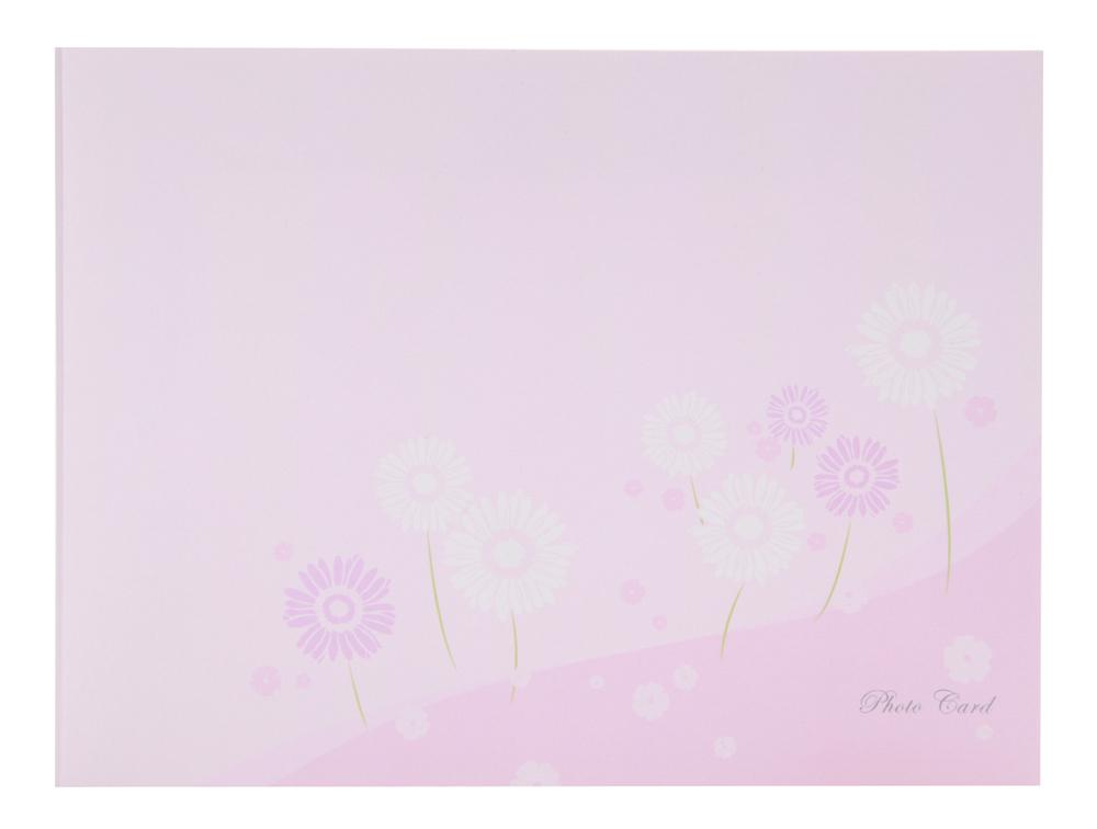 フォトマウントカード L判 ヨコ フラワー / ピンク 2面 生産完了品 現在庫のみ 在庫僅少