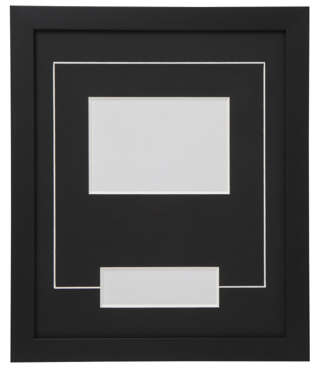 高級木製額縁 FB ブラック 小窓付 L版/横
